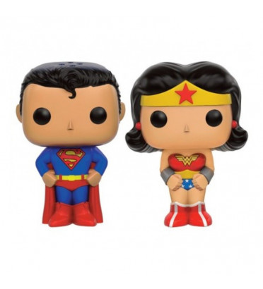SUPERMAN ET WONDER WOMAN / SALIERE ET POIVRIERE / FIGURINE FUNKO POP