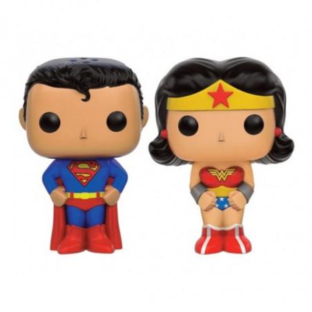 SUPERMAN ET WONDER WOMAN / SALIERE ET POIVRIERE / FIGURINE FUNKO POP