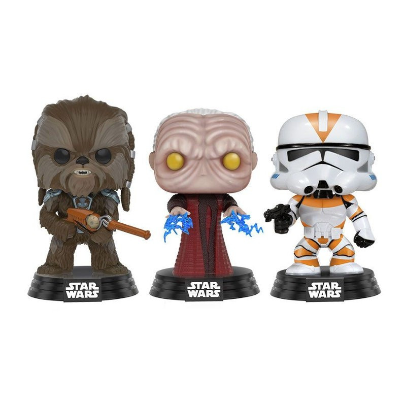 3-PACK TARFFUL, UNHOODED EMPEROR, CLONE TROOPER / STAR WARS / FIGURINE FUNKO POP / EXCLUSIVE