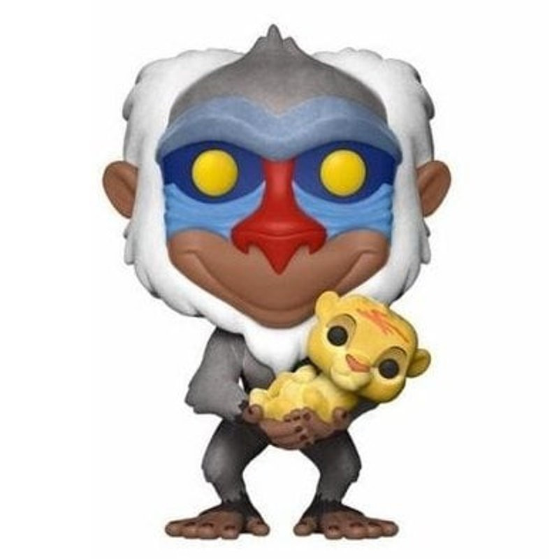 RAFIKI AVEC SIMBA / LE ROI LION / FIGURINE FUNKO POP / FLOCKED / EXCLUSIVE