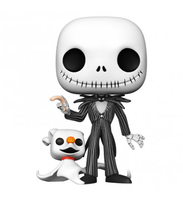 JACK SKELLINGTON WITH ZERO SUPER OVERSIZED / LETRANGE NOEL DE MR JACK / FIGURINE FUNKO POP
