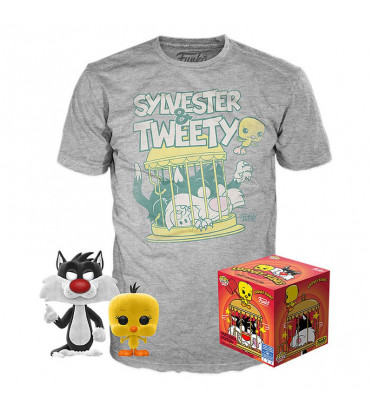 T-SHIRT L + POP SYLVESTER ET TWEETY / LOONEY TUNES / FIGURINE FUNKO POP