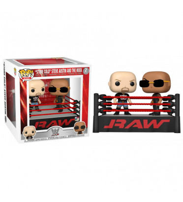 2 PACK THE ROCK VS STONE COLD IN WRESTLING RING / WWE / FIGURINE FUNKO POP