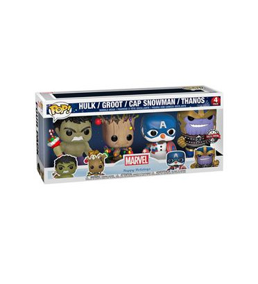 4 PACK HULK GROOT CAP SNOWMAN THANOS / MARVEL HOLIDAY / FIGURINE FUNKO POP / EXCLUSIVE SPECIAL EDITION